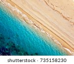 Top View Of A Deserted Beach....