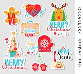 christmas set of stickers  pins ... | Shutterstock .eps vector #735159250