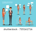 communication character set... | Shutterstock .eps vector #735161716