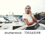 young successful businesswoman...   Shutterstock . vector #735163198