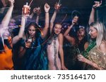 Stock photo new year dance party in night club happy friends company with drinks christmas celebration in 735164170