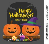 happy halloween and trick or... | Shutterstock .eps vector #735170884