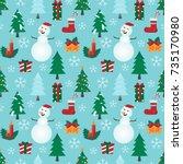 christmas patterns snowman... | Shutterstock .eps vector #735170980