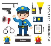Set Of Characters Of Police...
