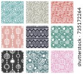 set of seamless vector pattern. ... | Shutterstock .eps vector #735172264