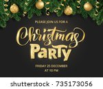 christmas party poster template.... | Shutterstock .eps vector #735173056