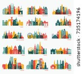 skyline detailed silhouette set ... | Shutterstock .eps vector #735174196