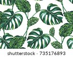 tropical leaves  jungle leaf ... | Shutterstock .eps vector #735176893