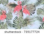 tropical seamless vector floral ... | Shutterstock .eps vector #735177724