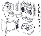 retro technic collection ... | Shutterstock .eps vector #735178678