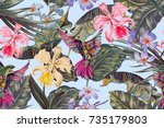 floral seamless vector tropical ... | Shutterstock .eps vector #735179803
