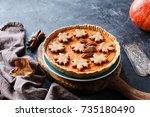 homemade pumpkin pie for... | Shutterstock . vector #735180490
