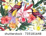 floral seamless vector tropical ... | Shutterstock .eps vector #735181648