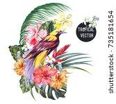 bird of paradise  tropical... | Shutterstock .eps vector #735181654