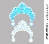 the headdress of the snow...   Shutterstock .eps vector #735182110
