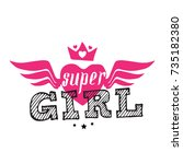 super girl   vector poster or... | Shutterstock .eps vector #735182380
