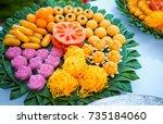 thai desserts variety colors... | Shutterstock . vector #735184060