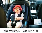 little baby fastened with... | Shutterstock . vector #735184528