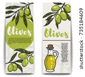 set of olive oil flyers. olive... | Shutterstock .eps vector #735184609