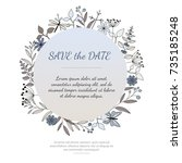 vector wedding invitation or... | Shutterstock .eps vector #735185248