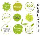 healthy food icons  labels.... | Shutterstock .eps vector #735185950