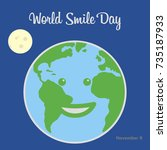 world smile day. flat vector... | Shutterstock .eps vector #735187933