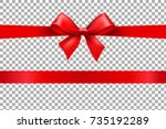 red bow isolated background... | Shutterstock .eps vector #735192289