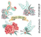 set of vintage floral... | Shutterstock . vector #735193819