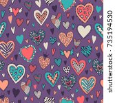romantic seamless pattern with... | Shutterstock .eps vector #735194530