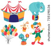 circus collection with rabbit... | Shutterstock .eps vector #735198136