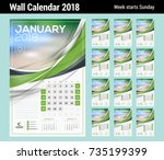 vector calendar template for... | Shutterstock .eps vector #735199399