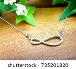 long chain necklace luxury... | Shutterstock . vector #735201820