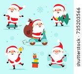 santa clauses set for christmas.... | Shutterstock .eps vector #735203566