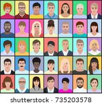 portraits of different people... | Shutterstock .eps vector #735203578