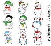 snowman collection. snowman set ... | Shutterstock .eps vector #735205744