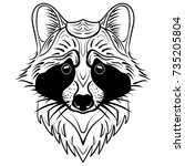 sketch raccoon face. hand drawn ... | Shutterstock .eps vector #735205804