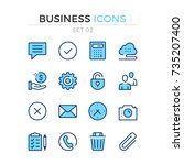 business icons. vector line... | Shutterstock .eps vector #735207400