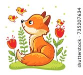 cute fox sits on green glade.... | Shutterstock .eps vector #735207634
