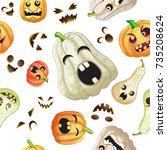spooky halloween pumpkins... | Shutterstock . vector #735208624