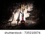 hookah hot coals on shisha bowl ... | Shutterstock . vector #735210076