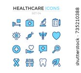 medical icons. vector line... | Shutterstock .eps vector #735210388