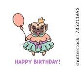 pretty little dog breed pug in ... | Shutterstock .eps vector #735211693
