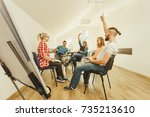 team collaboration meeting... | Shutterstock . vector #735213610