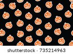 halloween pattern with pumpkin | Shutterstock . vector #735214963