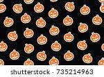 halloween pattern with pumpkin | Shutterstock . vector #735214963