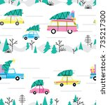 seamless pattern with cars and... | Shutterstock .eps vector #735217300