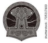 thor's hammer   mjollnir.... | Shutterstock .eps vector #735217603