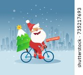 merry christmas with cute santa ... | Shutterstock .eps vector #735217693