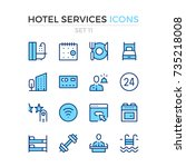 hotel services icons. vector... | Shutterstock .eps vector #735218008