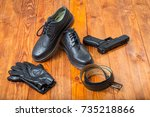 pair of fashion new leather... | Shutterstock . vector #735218866